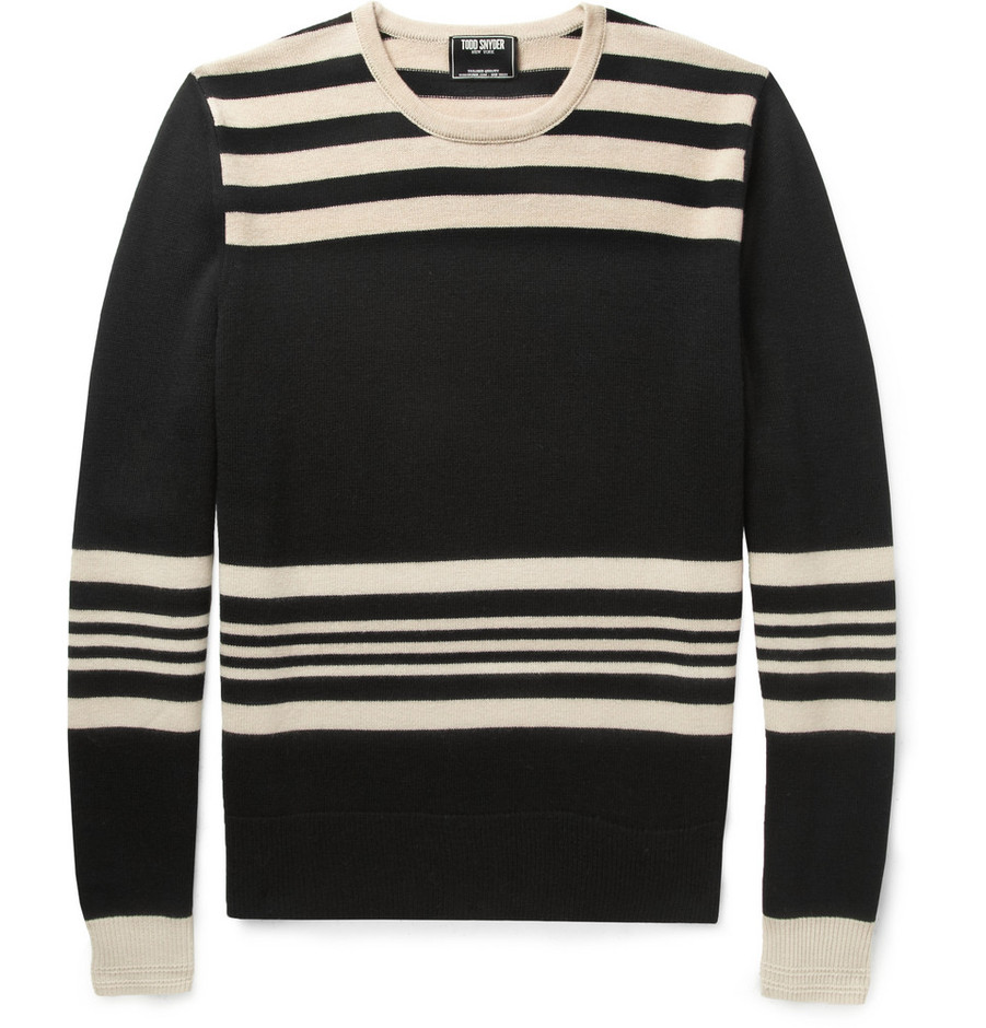Todd Snyder Striped Wool Sweater in Black for Men | Lyst