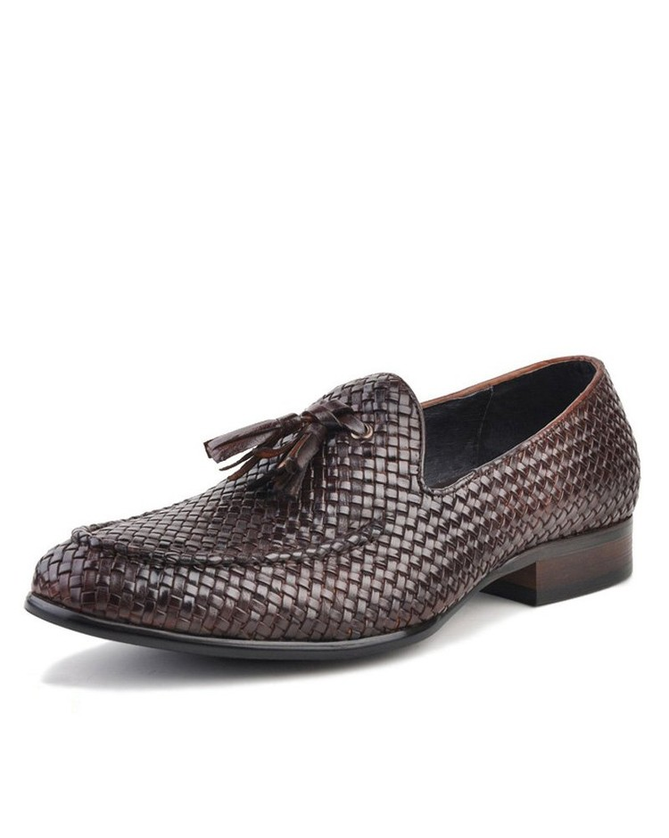 Amazon.com: Cwmalls Men's Woven Leather Tassel Loafers Brown: Shoes