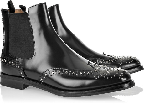 Church's Ketsby Polishedleather Studded Ankle Boots in Black | Lyst