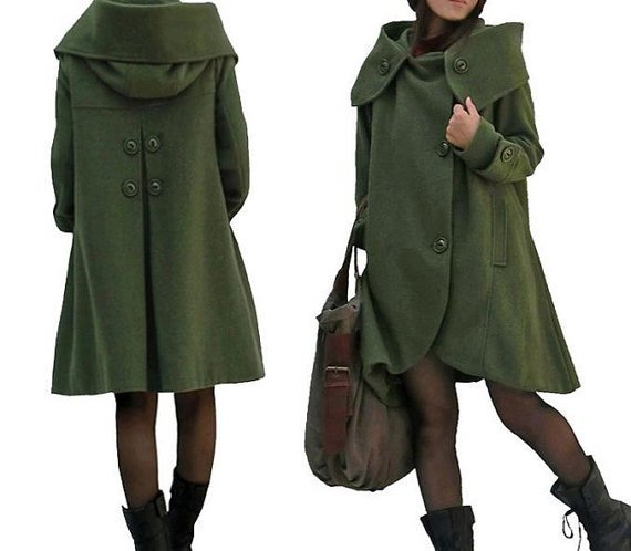 Winter Coat Wool Coat Wool Coat Cloak In Dark green Wool | Etsy