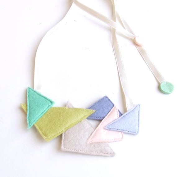 Kid Friendly Triangle Party Necklace by HOMAKO on Etsy