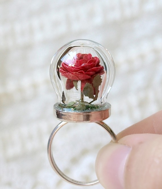 Etsy Transaction - RESERVED Tiny Terrarium Red Rose Blossom Ring