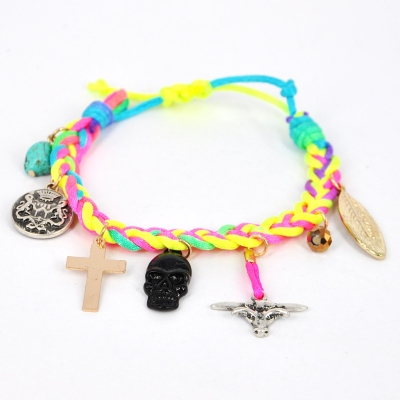 Braided Rainbow Neon Color Woven Rope Bracelet with Pendants | Hallomall MISI Handmade Shop