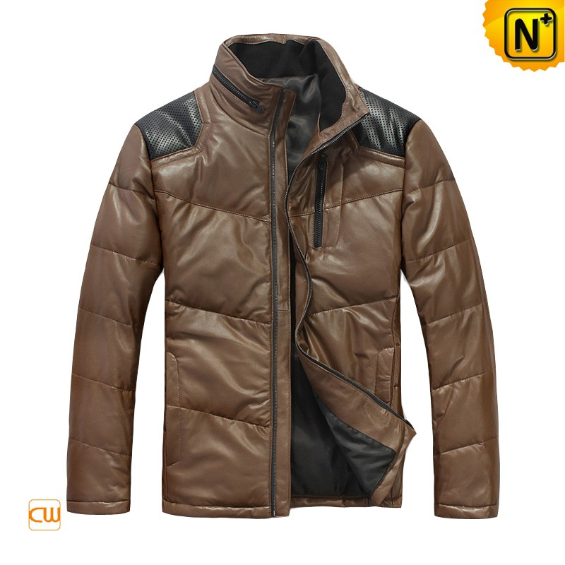 Down Leather Jacket 2012 Winter Men's Breathable Shoulder Down Padded Leather Jackets CW874122