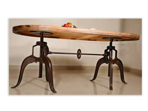 Vintage Industrial Iron Heavy Crank Table Traditional Retro Furniture ECL | eBay