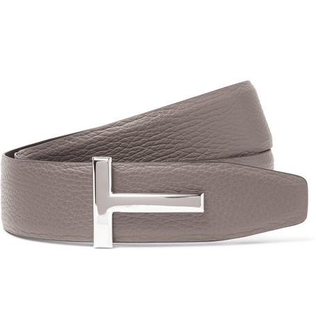 TOM FORD - 4cm Grey and Black Reversible Grained-Leather Belt
