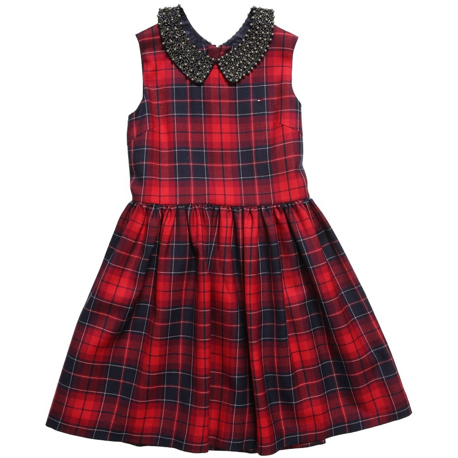 Tommy Hilfiger - Red 'Kendall Check' Dress with Collar | Childrensalon