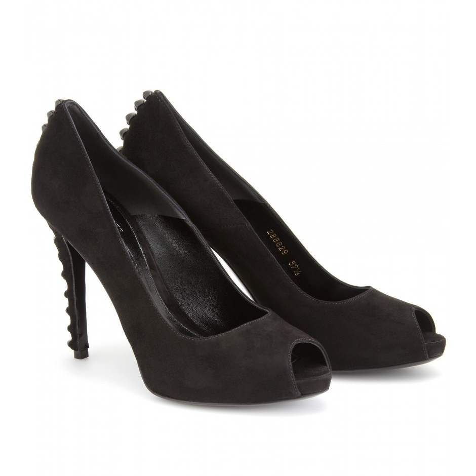 mytheresa.com - Alexander McQueen - LENNON SUEDE AND LEATHER KNOTTED PEEP-TOES - Luxury Fashion for Women / Designer clothing, shoes, bags