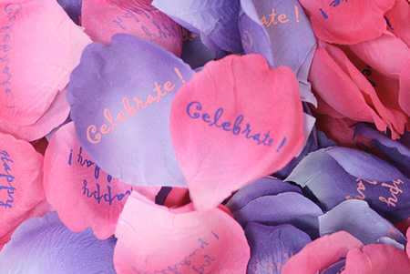 Petaloo Celebrate & Happy Birthday Pink & Purple Rose Confetti - Silk Leaves and Rose Petals - Floral Supplies - Craft Supplies