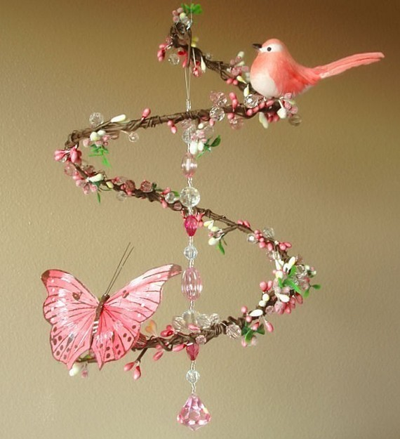 Etsy Transaction - Pink Strawberry Sunrise - Spiral Branch Mobile Chandelier with Perched Bird and Butterfly (Limited Edition)