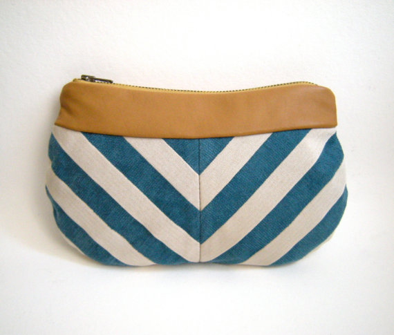 Handbag LOU Blue and White Chevron Clutch with by loucollection