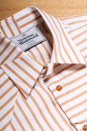 VIVIENNE WESTWOOD 25DL0173 Stripe Shirt Brown & White - SHIRTS from Autograph UK