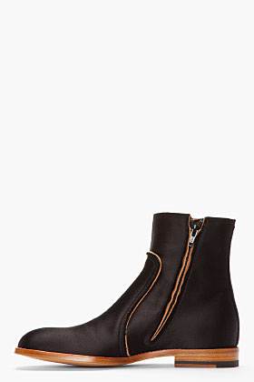 Maison Martin Margiela Black Classic Satin Boots for men | SSENSE