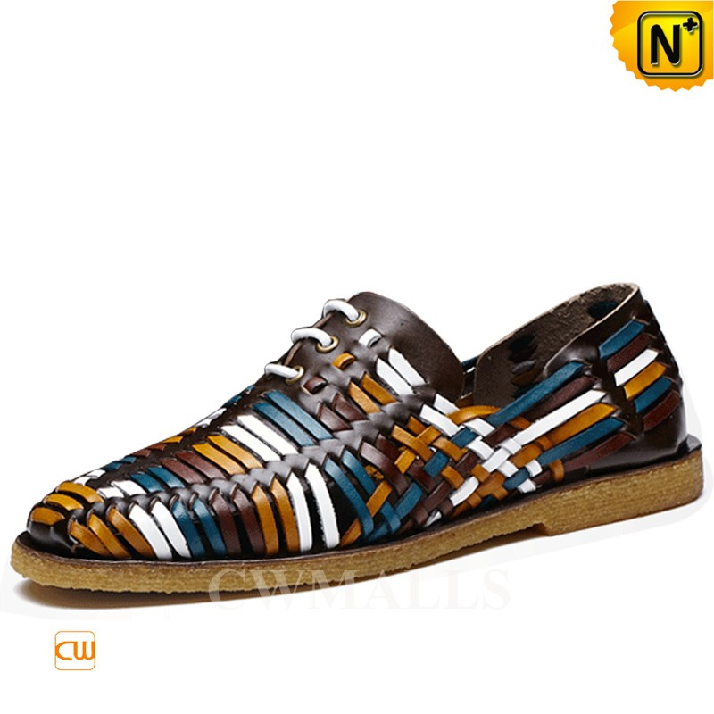 CWMALLS® Lace-up Woven Leather Loafers CW716405