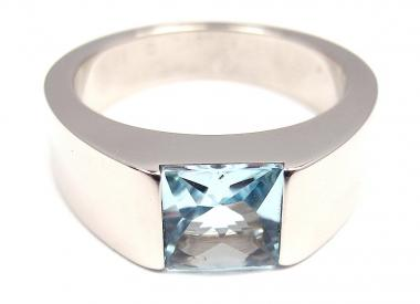CARTIER! 18K WHITE GOLD AQUAMARINE TANK RING SIZE 48 @ Lucky Diamonds : Shoplucky.com