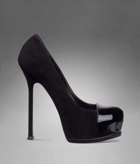 YSL Trib Too High Heel Pump in Black Suede and Patent Leather - Pumps - Shoes - Women - Yves Saint Laurent - YSL