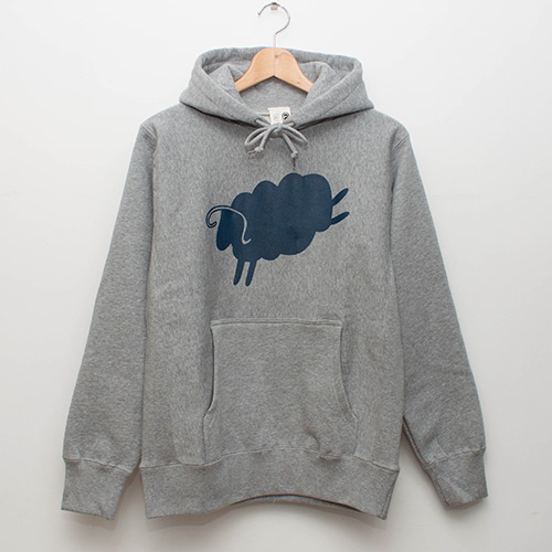 Cycle Sheep Hoodie - Grey x Navy - cup and cone WEB STORE