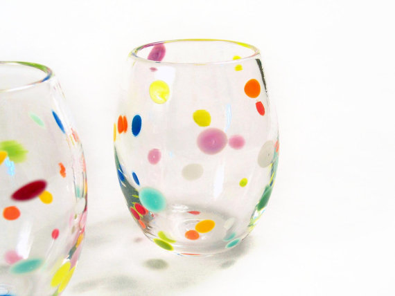 Retro Tumblers Hand Blown Glass Colorful Polka Dots by AvolieGlass