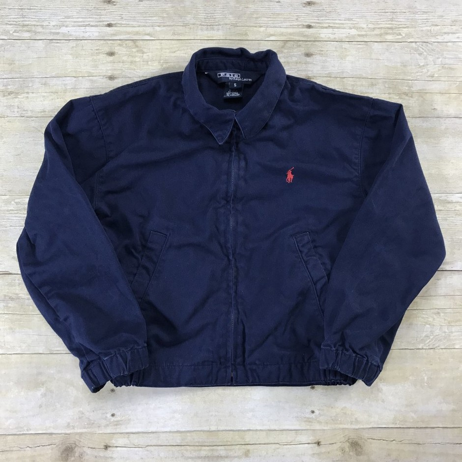 Polo By Ralph Lauren Navy Blue Classic Windbreaker Jacket YOUTH Size 5   Vintage Mens Goods