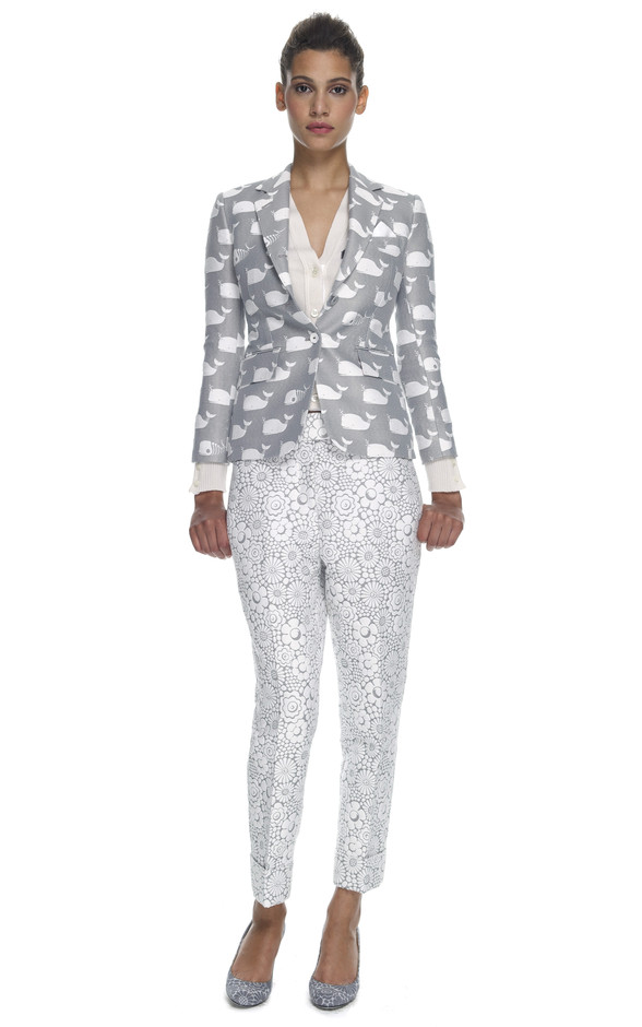 Classic Nipped Waist Short Coat by Thom Browne Now Available on Moda Operandi