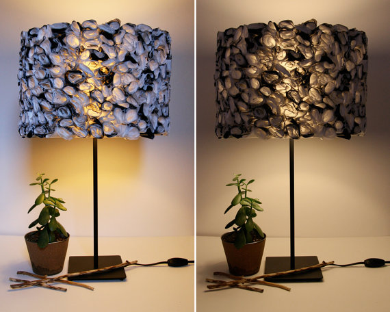 Ruffled Black and White Lamp Shade made from by Zipper8Lighting