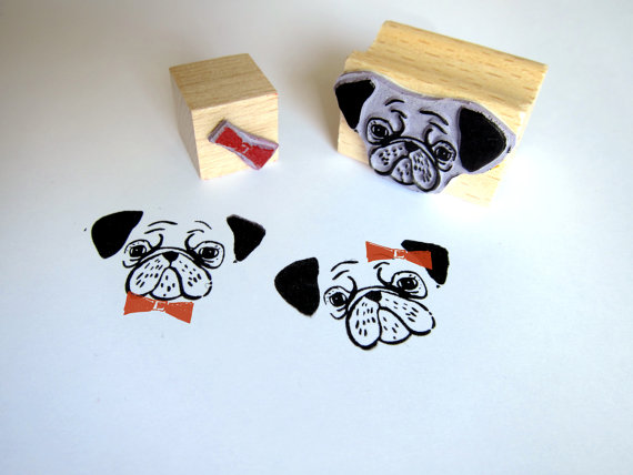 2 rubber stamp PUG by Citoyennes on Etsy