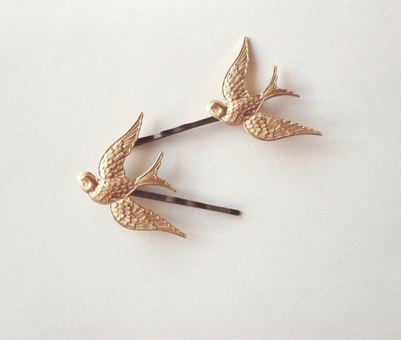 Flying Gold Sparrows Bird Bobby Pins Set of by dreamsbythesea