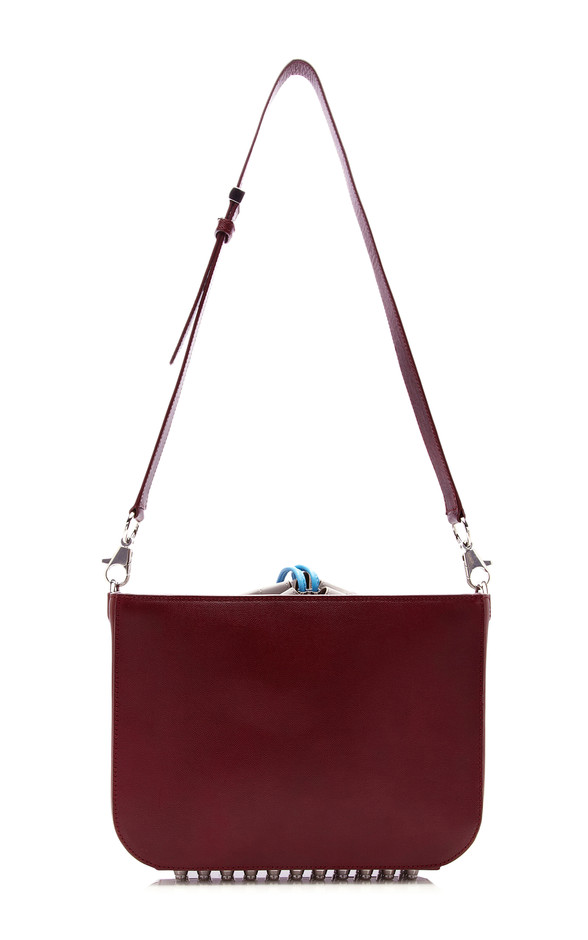 Blood Orange Flat Bucket Bag With Blue Strap by Alexander Wang for Preorder on Moda Operandi
