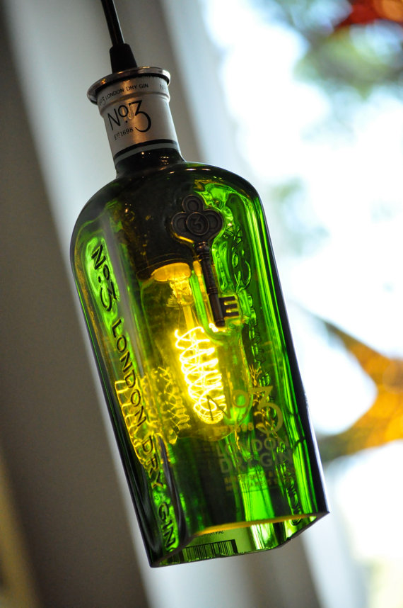 Recycled Bottle No3 Gin Pendant Lamp Whiskey by heirloom2011
