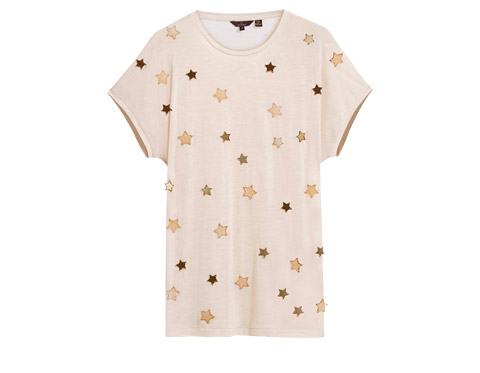 Mulberry - Star Effie Tee in Pebbled Beige Jersey Melange