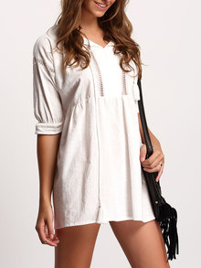 White Half Sleeve Lace Up Loose Dress