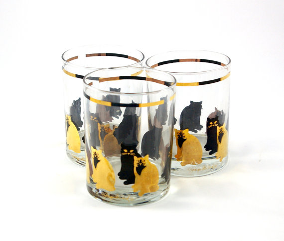 Three Georges Briard Cat Tumblers by bitofbutter on Etsy