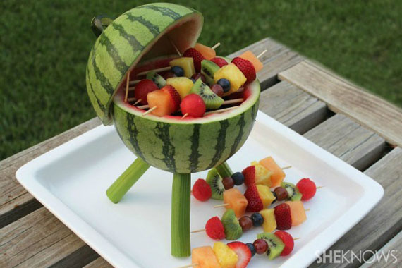 Watermelon Grill With Fruit Skewers | Incredible Things