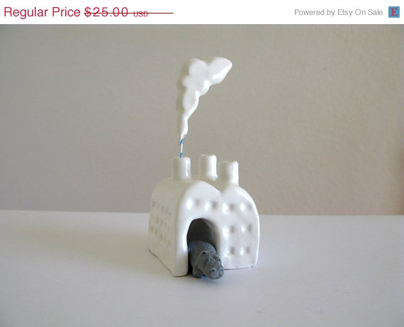 ON SALE Hippo Factory Miniature Ceramic Sculpture by PearsonMaron