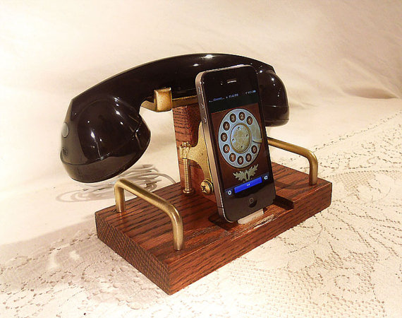 iPhone Dock Phone iPod Dock Phone Charger and by woodguy32