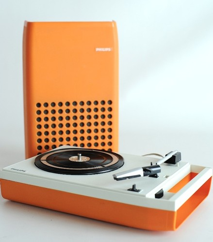 1970s VINTAGE RARE ORANGE PHILIPS 113 PORTABLE DESIGN RECORD PLAYER TURNTABLE | eBay