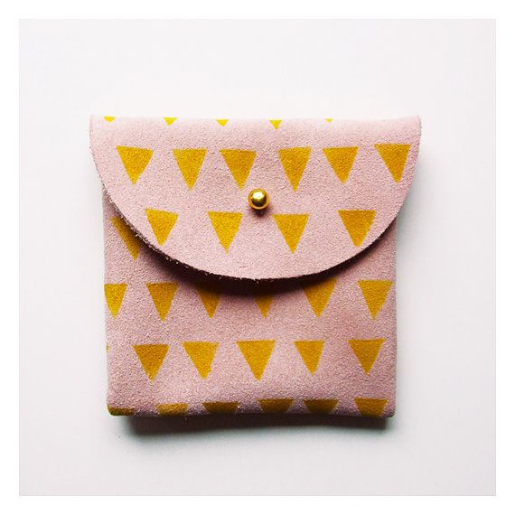 COIN PURSE // pink suede with small yellow by BlackbirdAndTheOwl
