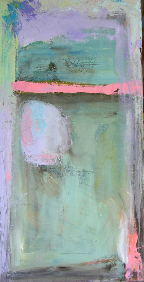 Abstract Painting Pastels aqua blue lavender by CherylWasilowArt