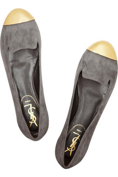 Yves Saint Laurent|Evalyn suede and metal loafers|NET-A-PORTER.COM