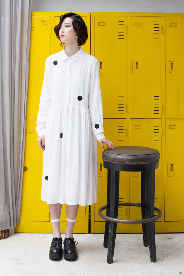 Long Embroidery Shirt Dress White - THE WHITEPEPPER