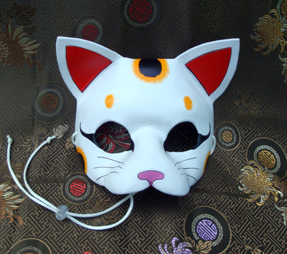 Lucky Cat Mask... original handmade leather cat mask by Merimask