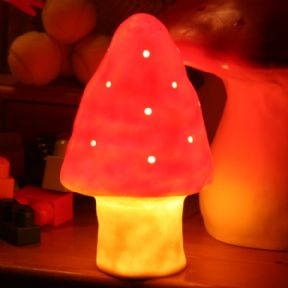 Heico little mushroom & toadstool lamp and night light for kids red