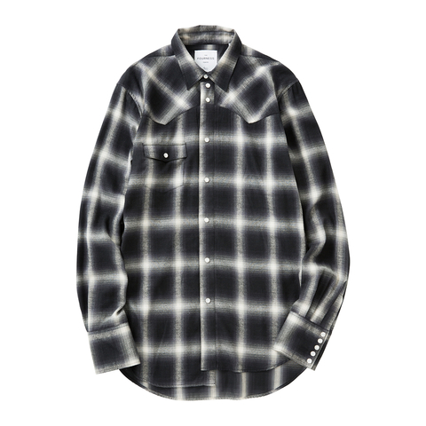 LONGTAIL WESTERN SHIRT - CHECK | Heather Grey Wall ONLINE store
