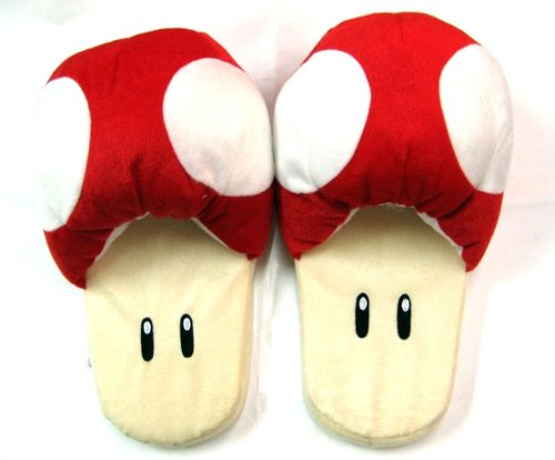 Amazon.com: Super Mario Brothers : Mushroom Slippers (Red): Toys & Games