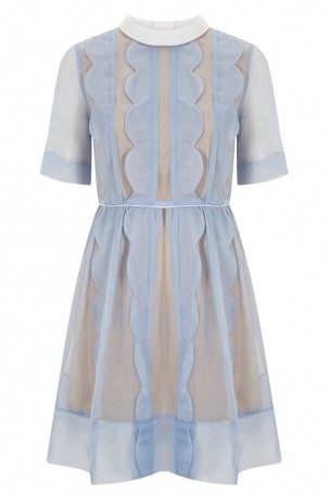 tba silk dress with scallop edge and turtle neck and button closure