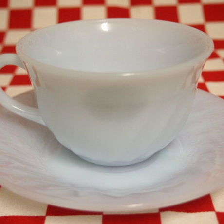 Fire King Azurite Swirl Cup & Saucer #62 | Jadeite Magic Gallery