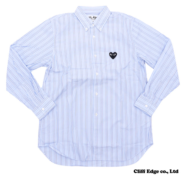 【楽天市場】PLAY COMME des GARCONS STRIPED BUTTON DOWN SHIRT [長袖シャツ] WHITExSAX 216-001028-044x【新品】【smtb-TD】【yokohama】:Cliff Edge