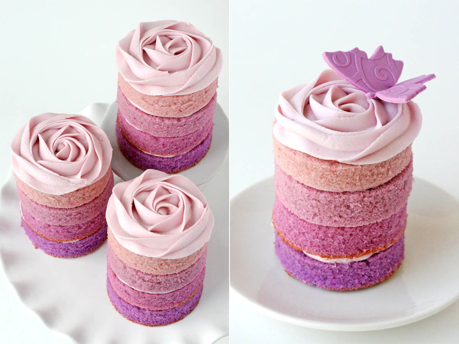 Glorious Treats: Purple Ombre Mini Cakes
