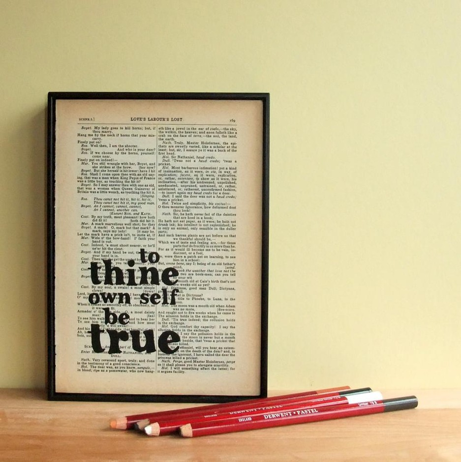 Inspirational Quote Typographic Art On Vintage Shakespeare Book Page | Luulla