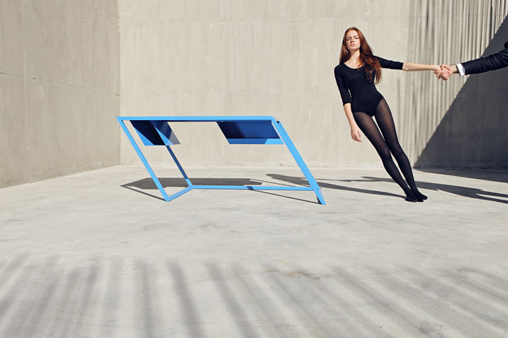 xyz integrated architecture tilting furniture 60 blue table 60